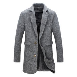 Wholesale Trend Fashion Jacket Korean - Wholesale- New 2016 men's fashion trend of casual Korean simple long section of high-quality solid color suit collar woolen jacket M-5XL