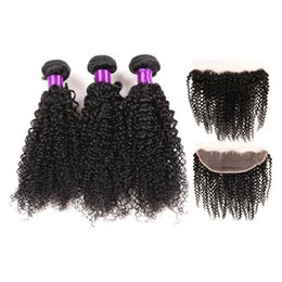 Wholesale Brazilian Hair Frontals - Diva Brazilian Human Hair Kinky Curly Lace Frontal Closure With Hair Bundles 3Pcs 13x4 Ear To Ear Full Lace Frontals With Hair Weaves