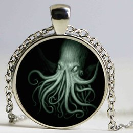 Wholesale Sliver Heart Necklace - Kraken Cthulhu Pendant Necklace Cabochon Vintage Long Sliver Chain Statement Necklace Fine Jewelry