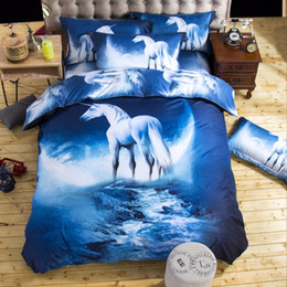 space bedding sets Promo Codes - Wholesale- 2016 new 3D Bedding Sets unicorn Universe Outer Space Quilt Duvet Cover Bed Sheet Blue Galaxy New 4 3pcs Pillowcase Twin Queen