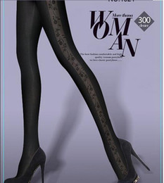 Wholesale New Beautiful Tights - women brand pantyhose new 6pc lot beautiful design tights 300Den winter stockings floral tatoo black women tights free size