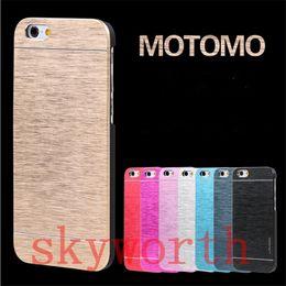 Wholesale Iphone 5s Aluminium - Motomo Brushed Aluminium Metal Hard Case Cover For iphone 6 6S Plus 5S Samsung Galaxy S5 S6 S7 edge Plus Note 4 5