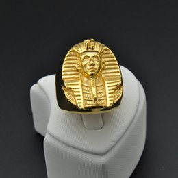 Wholesale man steel cast - Hip Hop Rock Casting Gold Color Titanium Stainless Steel Sphinx Egypt Pharaoh King Rings for Men Jewelry