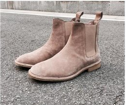 Wholesale American Leather Boots - 2017 autumn and winter new European and American CHELSEA BOOT male leather high to help Martin shoes plus cashmere warm