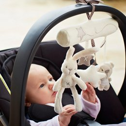 Wholesale Bear Musical - Wholesale- 1 pcs Musical Soft Plush Rabbit And Bear Baby Rattle Hanging Toy Stroller Star Hanging Rattle Mobile Products Cute Baby Toys