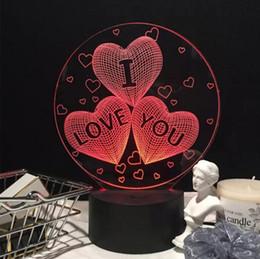 """Wholesale Heart Strange - """"I love you"""" lamp LED touch strange new stereo 3D colorful gradient light desk lamp light"""