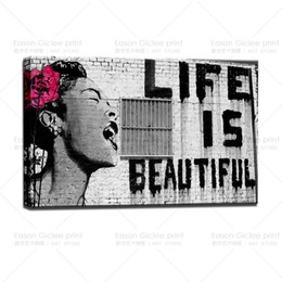 Wholesale Urban Canvas - Banksy Street Art Life Is Beautiful Canvas Graffiti Urban Picture Wall Decor Art Canvas Paintings Home Decor Wall Painting Picture