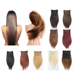 Wholesale Cosplay Blonde Brown - Resika Clip In Hair Extensions Brazilian Human Hair 20 22 24inch #613 Blonde Straight Hair Extensions 70g-220g 7pcs Set Cosplay Cheap Price