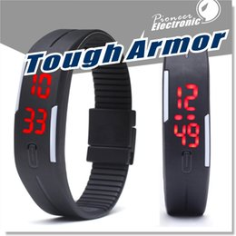 Wholesale Outdoor Digital Screen - LED Digital Wrist Watch Ultra Thin Outdoor Sports rectangle Waterproof Gym Running touch screen Wristbands Rubber belt silicone bracelets