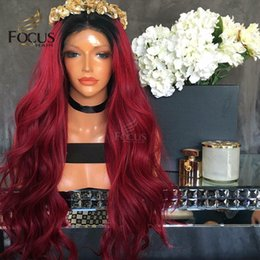 Wholesale Natural Red Hair Colors - Red Full Lace Wigs Human Hair Wigs 150 Density 1B Red Unprocessed Virgin Hair Natural Wave Lace Front Wig With Baby Hair