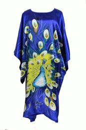 Wholesale Traditional Chinese Silk Dresses - Wholesale- Summer New Blue Chinese Style Silk Rayon Robe Women's Sexy Home Dress Traditional Kaftan Bath Gown Pajamas One Size WN001