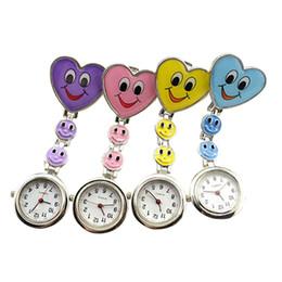 Wholesale Nurse Brooch Style Watch - Wholesale-New Style Fashion Ladies Women's Cute Smiling Faces Heart Clip-On Pendant Nurse Fob Brooch Pocket Watch