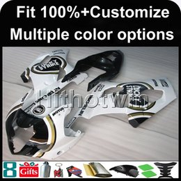 Wholesale plastic injection molded - 23colors+8Gifts Injection molded white motorcycle cover for Suzuki GSX-R1000 2003-2004 GSXR1000 03-04 ABS Plastic Fairing