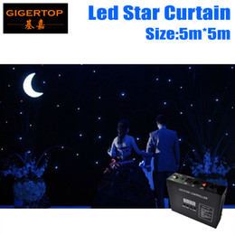 Wholesale Backdrop Lighting For Weddings - High Quality 5M*5M Led Star Curtain Blue+White LED Star Backdrops for DJ Stage Wedding Backdrops Led Star Lighting Size customized
