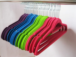 Wholesale horizontal belt - Clothes Hangers Two Position Flocking Racks With Horizontal Bar Antiskid Seamless Clothing Rack Suit Shirt Pants Hanger Multi Color 1hc D R