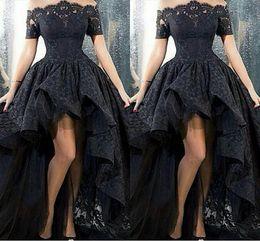 Wholesale Ankle Length Dresses Size 14 - 2017 Black Lace Off-Shoulder High Low Prom Dresses Sexy Vestido De Festa Arabic Design Ruched Formal Evening Gown Short Front Long Back