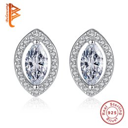 Wholesale Coloured Studs - BELAWANG High Quality Crystal Stud Earrings 925 Sterling Silver Multiple Colour Earrings Jewelry Sets With White Cubic Zirconia for Women