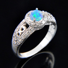 Wholesale opal mothers ring - 10pcs lot Classic Mother Gift Round Blue Fire Opal Gemstone 925 Sterling Silver Wedding Ring Jewelry Gift