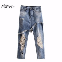 Wholesale Button High Waist Trousers - Wholesale- MLIYOYA New Casual Loose Women Jeans Vintage ripped Hole Fake 2 Pieces Denim Pants High Waist Straight Trousers