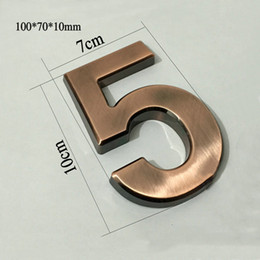 Wholesale number plate stickers - Wholesale- New 1PC 100*70*10mm Plastic House Numbers Hotel Home Door ABS Plating Number Digits Sticker Plate Signs Address Plaque Wholesale