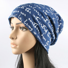 Wholesale Thin Cotton Turban - Unisex Thin Beanie Hat Female Skullies and Beanies Women Turban Skully Hat Cap Men Letter Hip Hop Hats Gorros Toucas