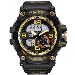 Wholesale Cool Military - SMAEL Digital Watch Men Sport Super Cool Men's Quartz Sports Watches Brand Luxury Brands LED Military Waterproof Wristwatch Male Drop Shippi