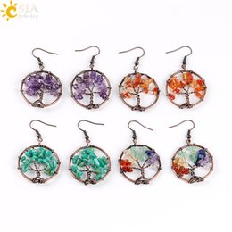 Wholesale Dangle Drop Beads - CSJA Wholesale Vintage Color Dangle Earrings for Women Round Tree of Life Ear Drop Natural Health Rainbow Gemstone Bead Classic Jewelry E529