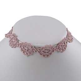Wholesale Hollow Out Lace Necklace - 10 Pcs Vintage Pink Lace Choker Necklace Statement Jewelry Hollow Out Floral Gothic Tattoo Choker For Women