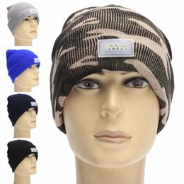 Wholesale Glow Tie - 7 1ff Womens Mens LED Glowing Knitted Hat Keep Warm Camouflage Beanies For Service Climbing Mountains Night Fishing With Light Knitte Cap