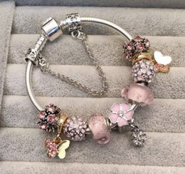 Wholesale european butterfly dangles - 925 Sterling Silver Charm Bead fit European Pandora Bracelets & Bangle for Butterfly Magnolia Dangle Charm Beads Snake Chain Fashion Jewelry