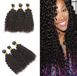 Wholesale Curly Hair Bulk Brazilian - Factory price human hair bulk 300g brazilian Hair bulk afro kinky curly human bulk hair 8A Grade No Shedding Free Shipping