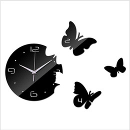 Wholesale Wholesale Watches Japan - Wholesale-2017 Hot Sale 3D DIY Mirror Wall Clock Modern Design For Living room Kitchen Watch Wall Sticker Home Decoration Reloj De Pared