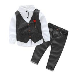 Wholesale High Fashion Baby Boy Clothes - Fashion 2017 new The boy gentleman 3pcs set baby boy clothes long sleeve t-shirt +Vest+pants kids party suit high quality