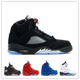Wholesale Black Box Fire - 2017 air retro 5 Black Olympic OG metallic Basketball Shoes Gold Raging Bull Red blue Suede Black Metallic Fire Red Sport Sneaker With Box