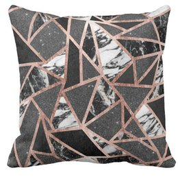 "Wholesale Brown Modern Sofa - Throw Pillow Case Modern Rose Gold Glitter Marble Geometric Triangle with Monogram Squar Sofa Cushions Cover, ""16inch,18inch,20inch"", Pack"