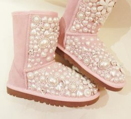 Wholesale Half Pearl Gem - Free shipping 2017 new inLourie powder ! sweet love pearl bow handmade rhinestone gem flower genuine leather knee-high snow boots