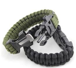 Wholesale Survival Bracelet U Clasp - New Survival Bracelets Paracord Parachute Camping Bracelet Stainless Steel U Clasp Escape Life-saving Bracelet Hand Made wristband