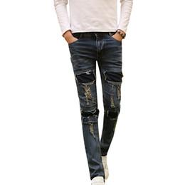 Wholesale Men S Denim Pants Wholesale - Wholesale- New Men's Ripped Jeans Brand Designer Badge Patched Hip Hop Retro Vintage Washed Distressed Slim Fit Denim Pants For Men N-ZK015