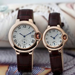 Wholesale Ladies Watches Roman Numerals - 2017 Hot AAA Famous Luxury Watches Women Men Watch Roman Numerals Dial Leather strap Top Brand Ballon Quartz Wristwatches for Men Lady Clock