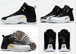 Wholesale Snow Jogging Boots - 2017 High Quality Retro 12 Wings Men Basketball Shoes 12s Wings Discolor White Black Gold 12s Master Sports Shoes With Box Eur 41-47