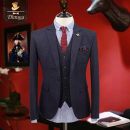 Wholesale 3pcs Tuxedo - Wholesale- brand clothing new men suits tuxedo coat pant vest 3pcs one button slim fit groom wedding suits for men boys prom suits Plaid