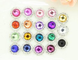 Wholesale Stoned Hair Bow Wholesale - Free Shipping!100pcs lot 16MM 19color metal rhinestone button acrylic stone center wedding hair bow garment DIY accessory