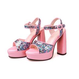 Wholesale Sexy Cloths Night - Luxury Bling Dazzling Super High Heels 13cm Shoes Night Club Sexy Women High Platform Pumps Pink Black Wedding Shoes 33-43