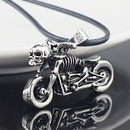 Wholesale Motorcycle Chain Necklace - Wholesale- Male Gothic Punk Skeleton Motorcycle Titanium Stainless Steel leather chain Pendant Necklace X545