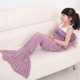 Wholesale Children Sleeping Blankets - Mermaid Tail Blanket Knitted Bed Blanket Sofa Quilt Air-conditioned Living Room Watch TV Moive Book Sleeping Bag Gift for Kids Girls Pets