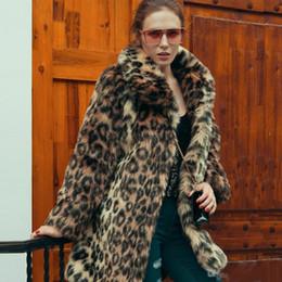 Wholesale Stylish Women Winter Coats - Ladies Leopard Faux Fur Coat Winter Long Parka Jacket Slim Fit Long Sleeve Lapel Neck Puff Coats Stylish Streetwear