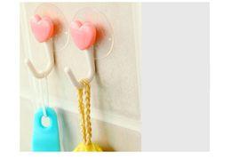 Wholesale Clothes Hanger Pink - Practical Pink Heart Plastic Sucker Hook Key umbrella bag clothes Hanger Household Essentials