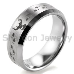 Wholesale Tungsten Rings For Couples - SHARDON 8mm Bevel Tungsten Carbide comfort fit lasered Deer Hunting design Ring for Men Outdoor Wedding Band