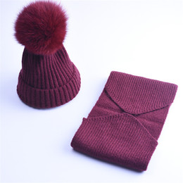 Wholesale Big Boy Hats - 2017 Woman New Good Quality Cashmere Children Winter Hat Scarf Knitted Wool Beanies Hats Big Pom Pom Hat Kids Warm Caps Set For Boys Girls