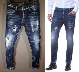 Wholesale Famous Paintings Prints - 2017 new listed Size 44~52 fashion famous Brand Paint points holes Elastic casual Biker Ripped Jeans Hommes Masculino Designer slim fit
